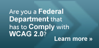 Are you a Federal Department that has to comply with WCAG 2.0? Follow link to Learn More